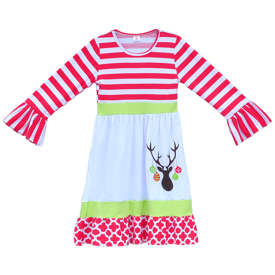 Christmas dress boutiques - Best Toddler Girls Christmas Dress Kids Full Sleeves Dress With Embroidery Reindeer Boutique Children Clothing Baby Frocks C023 Product