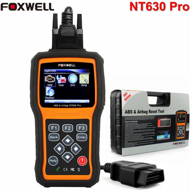 Foxwell nt630 pro automotriz obd2 escáner de código de abs airbag herramienta de restablecimiento Bolsa de aire Restablecer Datos De Accidente de Coche de Diagnóstico Herramienta de Análisis con español