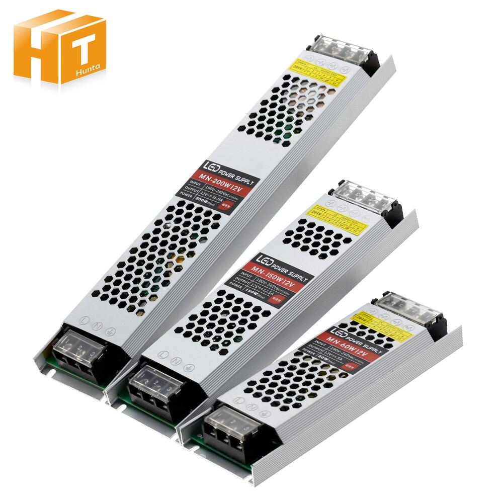Ultra Dünne LED Netzteil DC 12V Beleuchtung Transformatoren 60W 100W 150W 200W 300W AC190-240V Fahrer Für LED Streifen