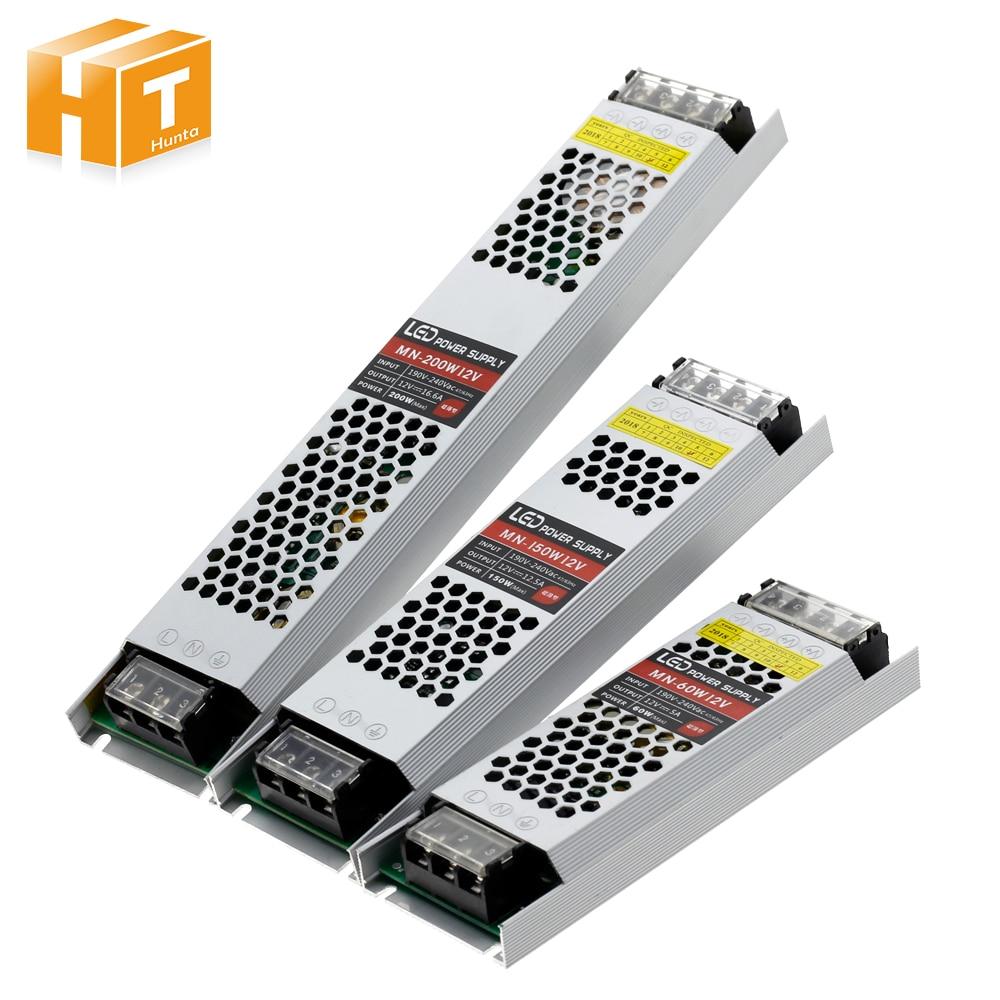 Transformador ultra fino da iluminação da fonte de alimentação do diodo emissor de luz dc 12 v 60 w 100 w 150 w 200 300 w AC190-240V driver para tiras conduzidas