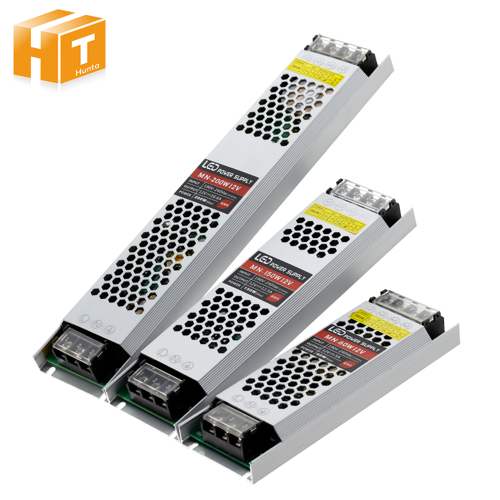 Ultra Thin LED Power Supply DC 12V Lighting Transformers 60W 100W 150W 200W 300W AC190-240V Driver For LED Strips image