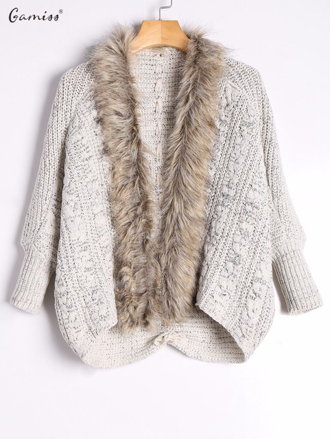 70e4cb1d1bf40 Gamiss Cable Knit Faux Fur Trimmed Cardigan Autumn Winter Women Warm  Knitted Sweaters Long Sleeves Open