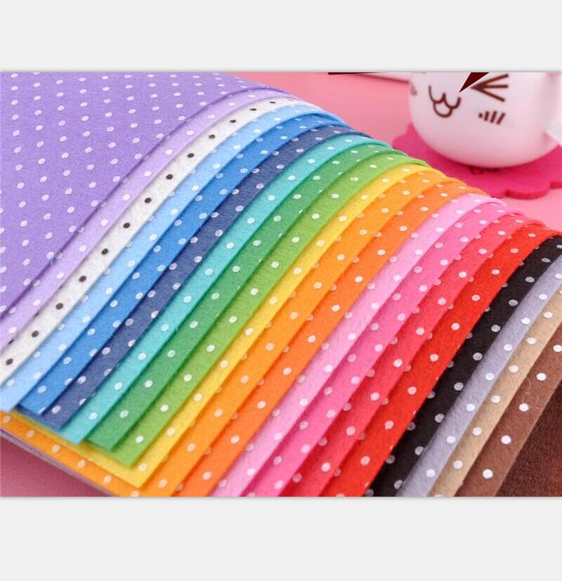Mix 20colors 1mm thick 15x15cm 100 polyester polka dot for Polka dot felt fabric