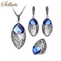 Sellsets צבע כסף עתיק צורת לב תכשיטי אופנה תכשיטים מגדיר קריסטל כחול