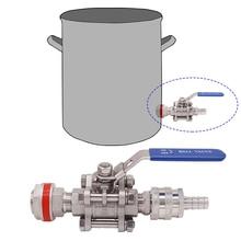 """Бесшовный шаровой клапан 304 SS из 3 частей с комплектом быстрого отключения, подходит для 1/"""" ID шланга, подходит для варки чайников, оборудование для домашнего приготовления"""