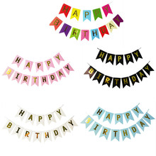 Multi Themes Happy Birthday Banner Baby Shower Photo Bunting 1st Flags Boy Girl Party Decorations Supplies