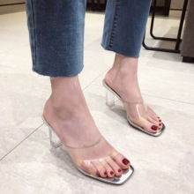 Liren 2019 Slippers Shoes Summer Fashion PVC Transparent High Heels Square Head Sandals Sliver Black Size 35-39