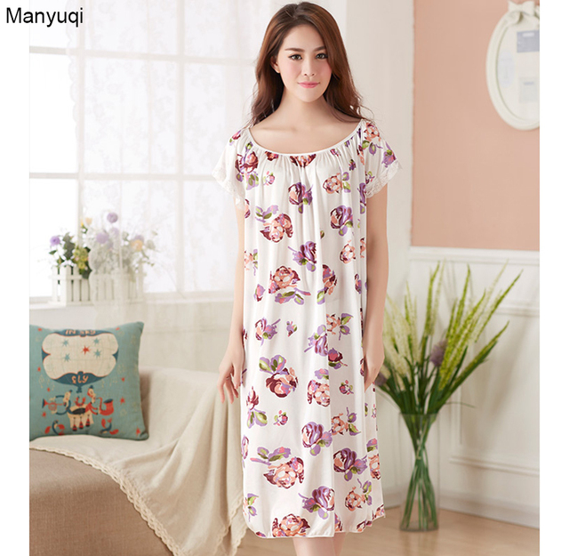 Plus size women s floral nightgown short sleeve dressing gowns for women  loose homewear long women nightgowns 4a9063520