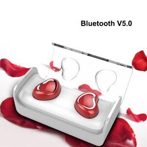 Image 1 - True Wireless Heart Earbuds Earphones TWS Stereo Bass In ear Cute Bluetooth 5.0 Earphone Pink Headset For Girl