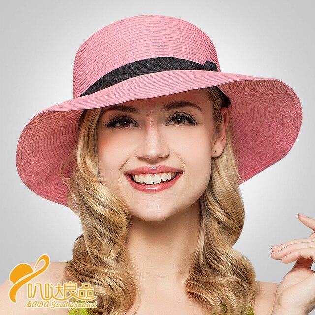 Мода Панама Таиланд Tide новый 2016 пользовательские алфавита Рафи большой головной соломенная шляпа женский летний пляж отдых B-2323
