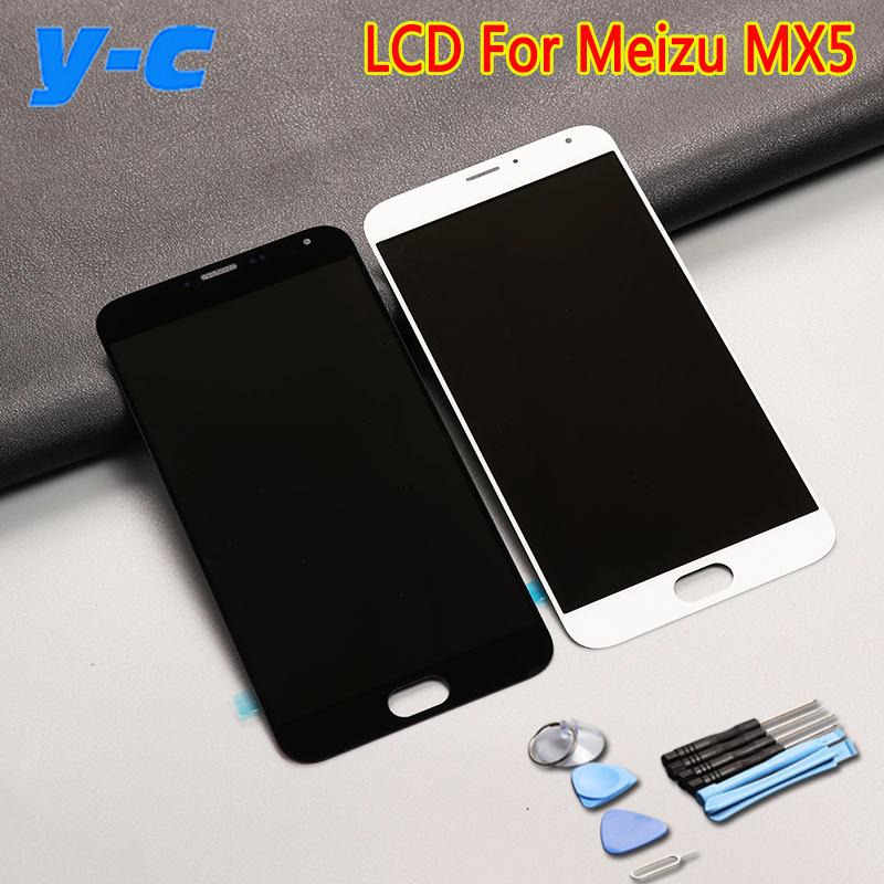 Prix pour Pour Meizu MX5 LCD Affichage à L'écran Tactile 100% Nouveau Digitizer Verre panneau Écran Pour MEIZU MX 5 1920X1080 FHD 5.5 ''Cell Téléphone