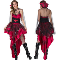 Vampire Queen Witch Dress Costume Halloween Costumes for Women Sexy Cosplay Black Gothic Lolita Dress Fantasy Adult Wholesale