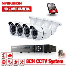 High quality NINNIVISION 16CH HD 1080P HDMI DVR 8pcs 2.0MP CCTV Camera Video Surveillance System Outdoor IR cut Kits