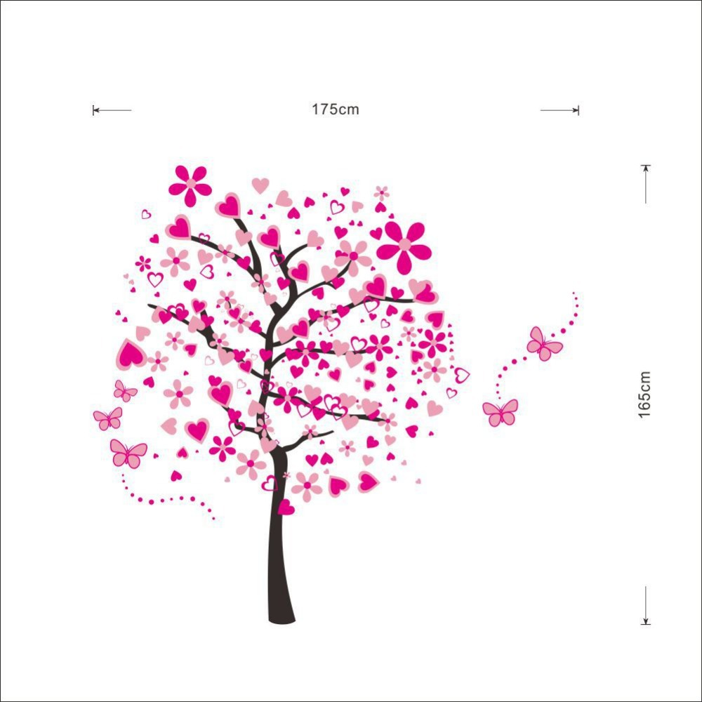 Super large pink love tree wall stickers decals home bedroom super large pink love tree wall stickers decals home bedroom living room decor girls women bonito flower adesivo de pared mural in wall stickers from home amipublicfo Image collections