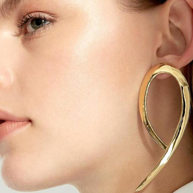 Simple fashion gold color Silver plated big round earrings for women fashion big hollow drop earrings jewelry 4