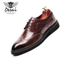 DESAI/Новинка; обувь bullock; мужская повседневная обувь в деловом стиле в Корейском стиле; обувь на шнуровке из натуральной кожи; мужские оксфорды в стиле ретро