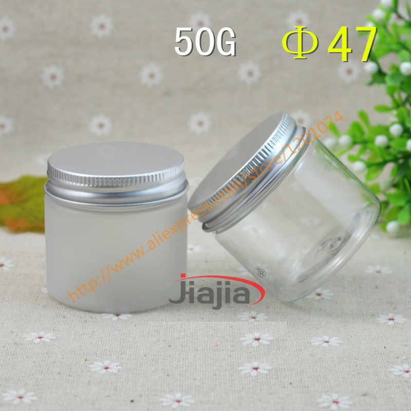 50 grams clear clear frosted PET Jar 50g PET Empty Cosmetic Cream Jar with Silver Aluminum