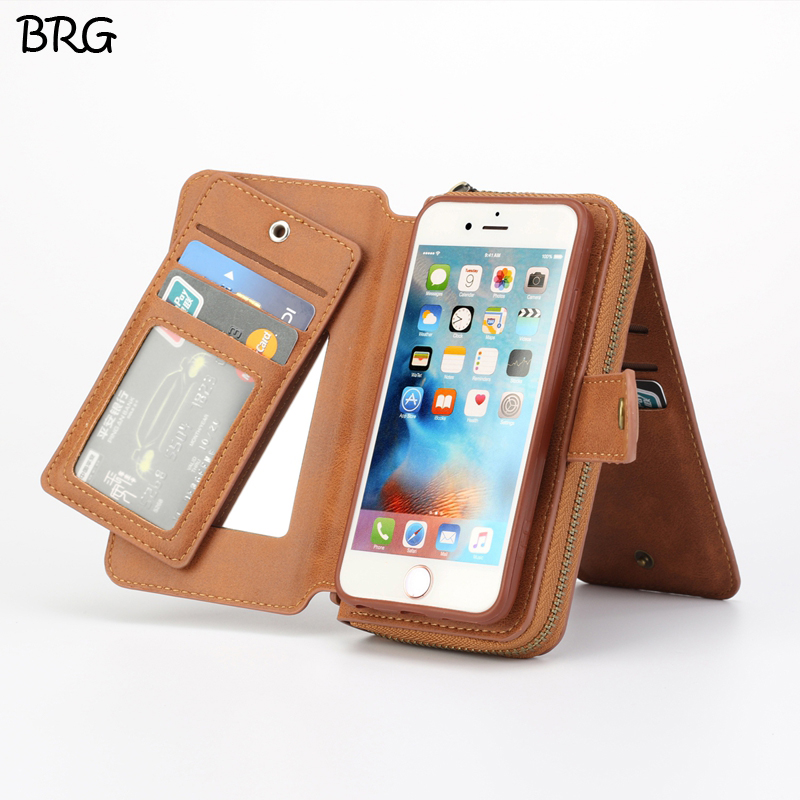 BRG popular Zipper Flip Wallet Leather Case for iPhone 6 6S Plus Portable Folio Holster Cash Slot 11 CARD HOLDER DETACHABLE ...