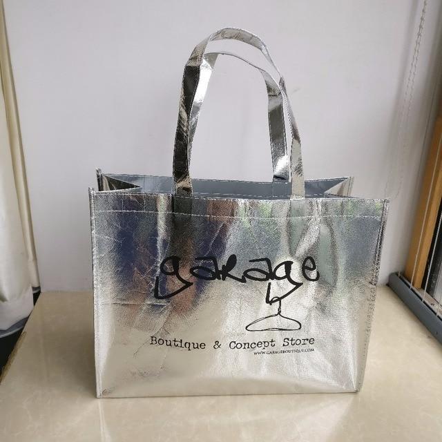 2e2730e6ed wholesale 500pcs lot custom logo bag luxury reusable silver non woven  shopping bag for clothes packaging printed company logo