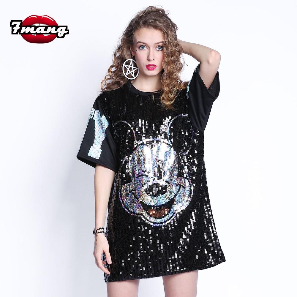 7 Mang 2019 femmes Streetwear Mickey Mouse paillettes t-shirt à manches courtes noir argent fête Harajuku lâche Kwaii t-shirt 0308