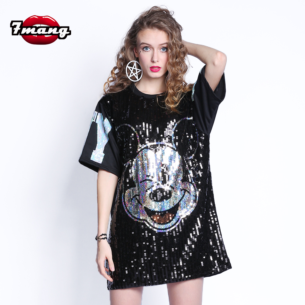 54277f40b0 US $19.06 66% OFF|7Mang 2019 Women Streetwear Mickey Mouse Sequins TShirt  Short Sleeve Black Silver Party Harajuku Loose Kwaii T Shirt 0308-in ...