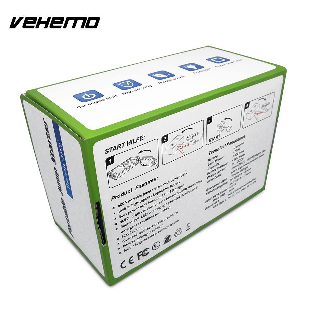 Vehemo Automobile bloc d'alimentation batterie saut démarreur saut démarreur 10000 mAh US/EU/UK/AU Plug Smart 600A crête chargeur de batterie - 4