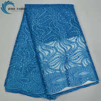2017 Latest African French Lace Fabric High Quality With Stones Nigerian Embroidery Tulle Laces sky blue For wedding decoration