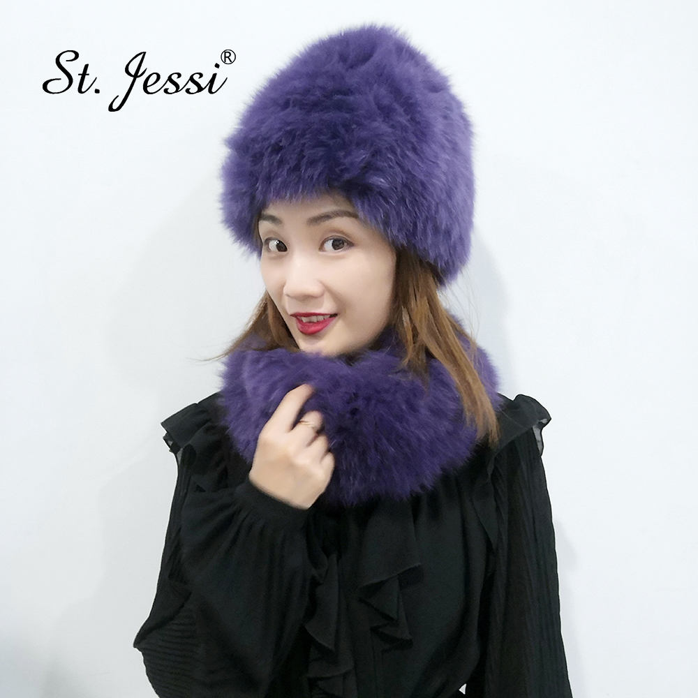 ST.Jessi 2019 Women Winter Fox Fur Hats & Scarves Set Natural Real Beanies Knitted Luxury Russia Neck Warmer Wrap Muffler Loop