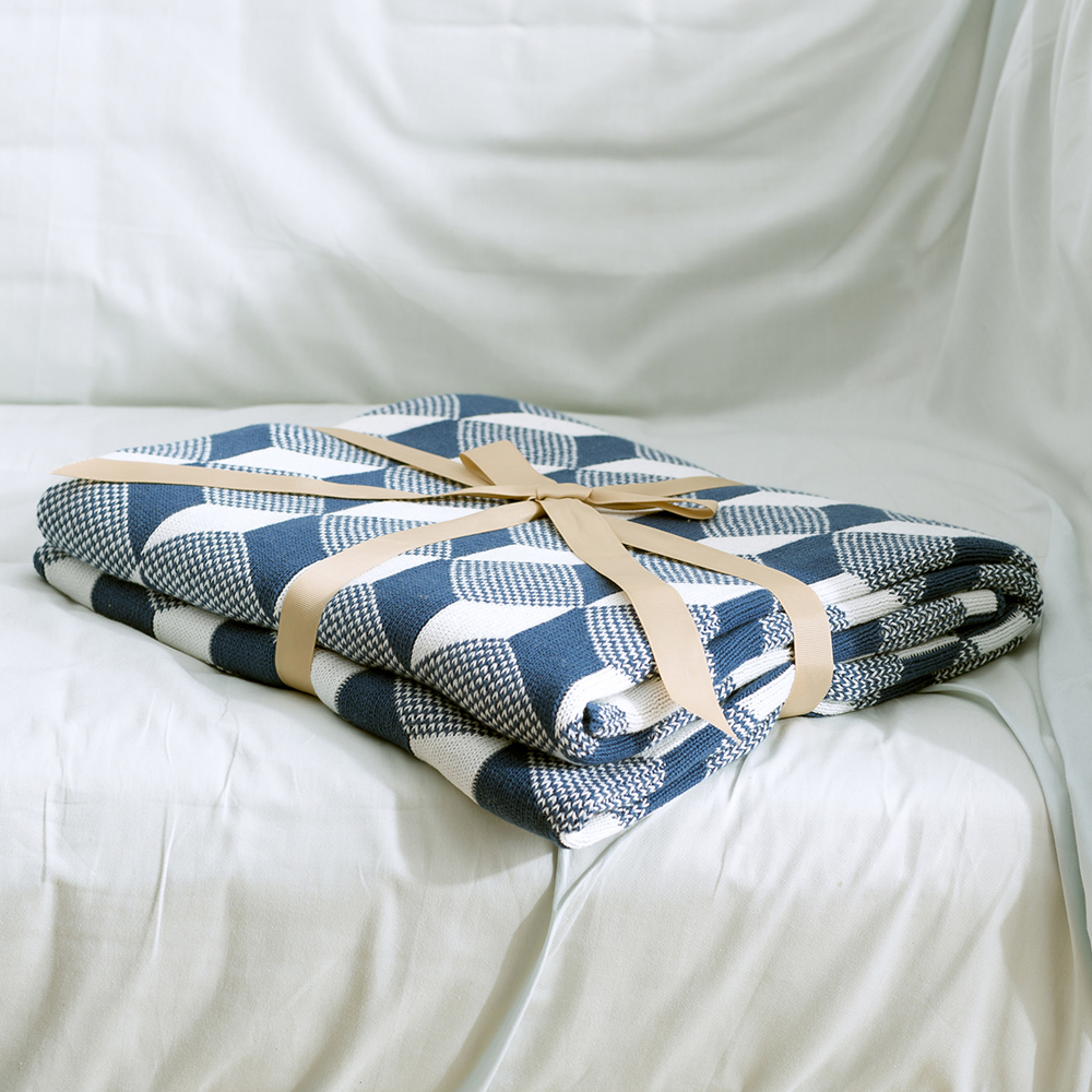 MDCT geométrico Crochet tejer manta algodón tiro cama colcha sofá ...