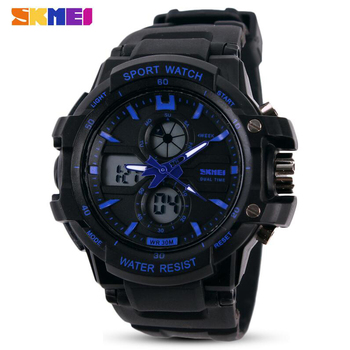 Digital & Analog Alarm Waterproof Wristwatch