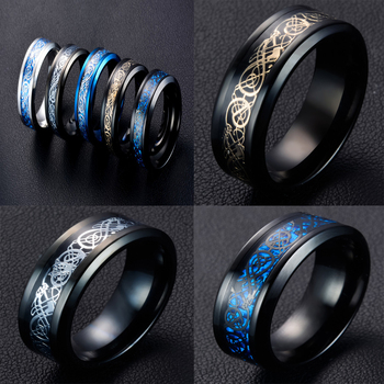 2017 New Fashion Men Cool Stainless Steel Black Dragon Design Rings High Quality Ring Jewelry Size 7-10 3 Colors Кольцо