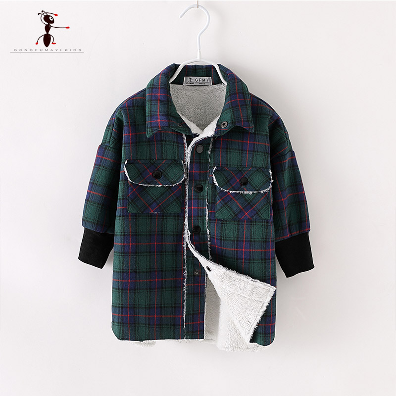 Kung Fu Ant Autumn Winter Boys Plush Shirt Turn-down Collar Elastic cuffs Plush Inside Double Pockets keep warm Children shirt pockets turn down collar long sleeve men s shirt