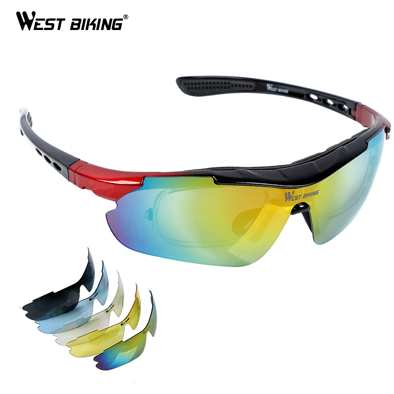 030589494bc WEST BIKING Polarized Cycling Glasses Bicycle Outdoor Eyewear Sunglasses  Ciclismo Bike Goggles 5 Lens Sport Cycling Glasses-in Cycling Eyewear from  Sports ...