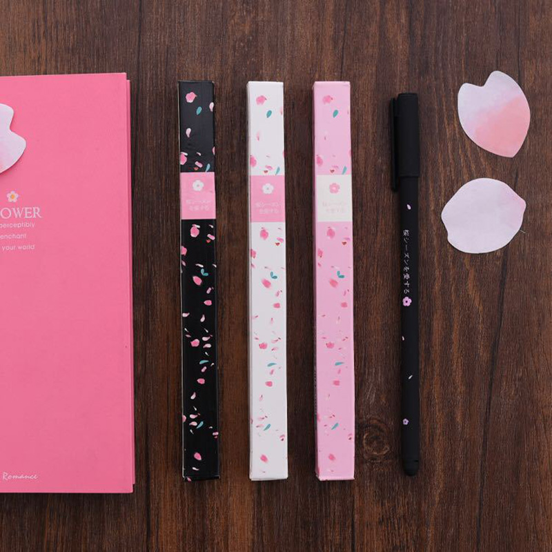 1pcs 0 38mm Cherry Blossom Gel Pen Japanese Stationery Writing Pens for Girls Lovely Gift Kawaii School Supply Cute Pen in Gel Pens from Office School Supplies
