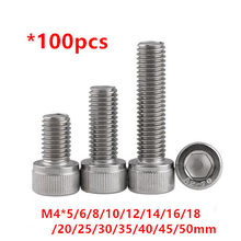100pcs DIN912 M4 rvs Hex Inbusbouten M4 * 5/6/8/10 /12/16/20/25/30/40/50mm Hexagon Cilinder kop Bouten(China)