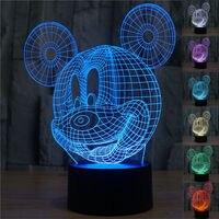2016 Verbazingwekkende Mickey Mouse 3D Optische Illusie Visualisatie Led Licht 7 Kleur Lava Lamp Touch Kids Nachtlampje Led Bureau Lamp