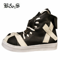 Black&Street exclusive customized Cool genuine leather handmade vintage cross leather lace up trainer sneaker Boots