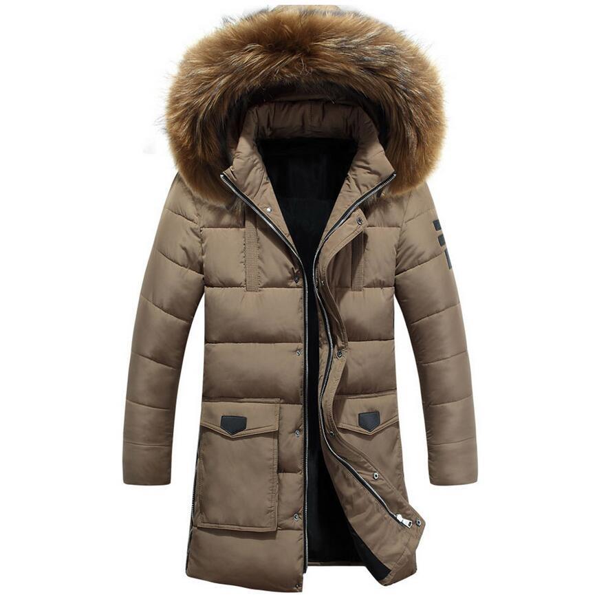 ФОТО 2017 4 Color Long Winter Jacket Men Clothing Big Fur Hooded Outwear Casual Jacket And Cotton Parkas Male Big Napapijri Coat