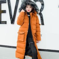 30 Degree Winter Children's Down Parka Jacket 2019 New Warm Snowsuit Winter Extra Long Coat for Kids Girls Christmas Clothes 12