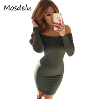 Mosdelu Off The Shoulder Bodycon Dresses Women Casual Autumn Basic Pencil Dress Long Sleeve Sexy Party