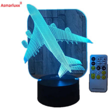 Airplane 3D LED Light Remote or Touch Control Illusion Table Lamps 7 Colors USB Change Desk Lamp Lamp Night light Kids