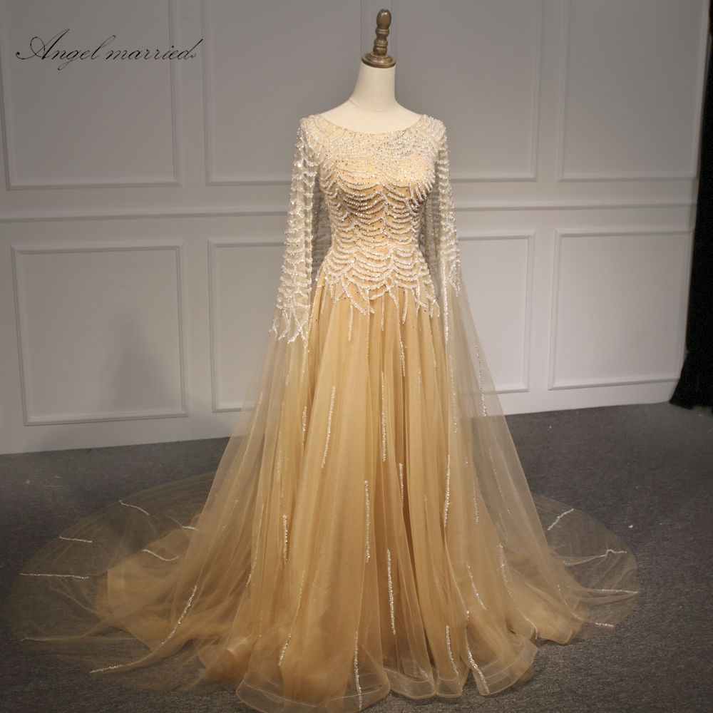Angel married Evening Dresses luxurious long gold prom dress with ...