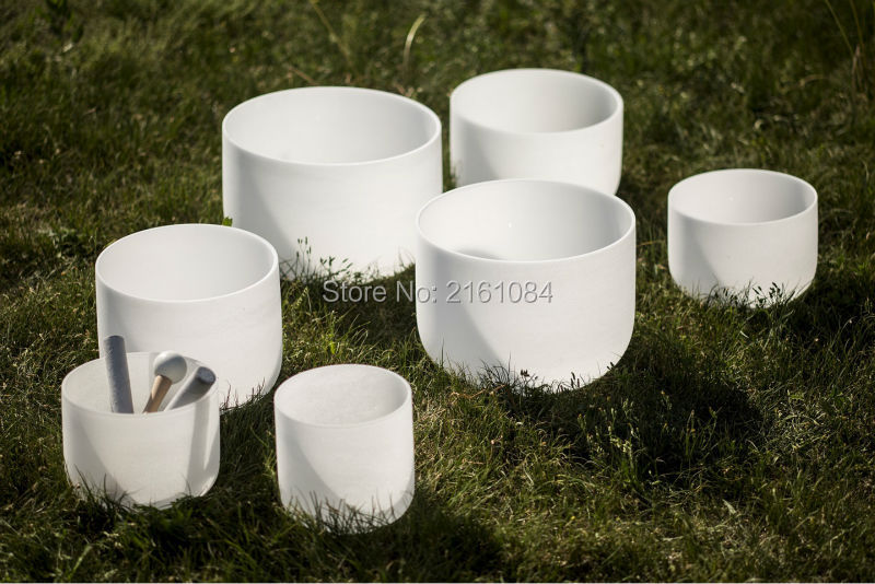 8 14 432HZ Chakra Tuned Set of 7 Frosted Quartz Crystal Singing Bowls with one free suede and o ring