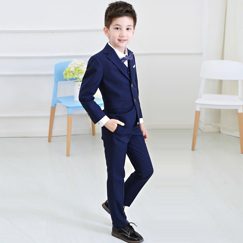 Boys Blazers Suit Kids Boy Suits for Weddings Jacket+Blouse+Tie+ ...