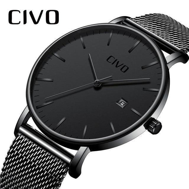 57265639b44 Homens Relógios Data CIVO Top Marca de Luxo Relógio À Prova D  Água Ultra  Fino