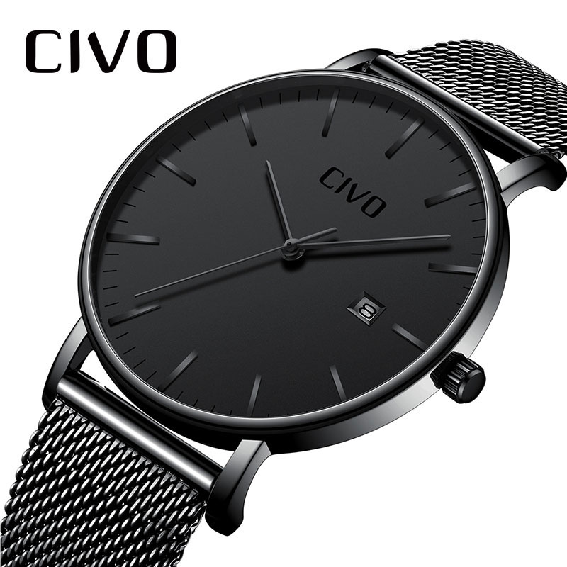 Men Watches CIVO Top Brand Luxury Waterproof Watch Ultra Thin Date Clock Male Steel Mesh Strap Businesss Casual Quartz Watch Men nibosi men s watches new luxury brand watch men fashion sports quartz watch stainless steel mesh strap ultra thin dial men clock