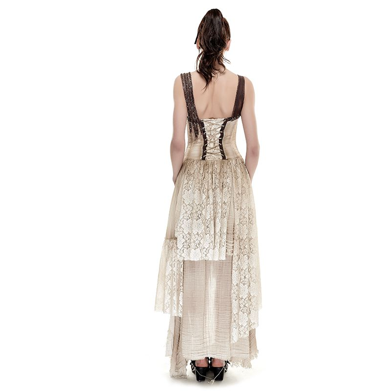 5f2e40ce166b9 Gothic Palace Asymmetrical Hem Lace Matching Do Old Dress Steam Punk Summer  Off Shoulder Sexy Ankle length Maxi Dresses Q 291-in Dresses from Women's  ...