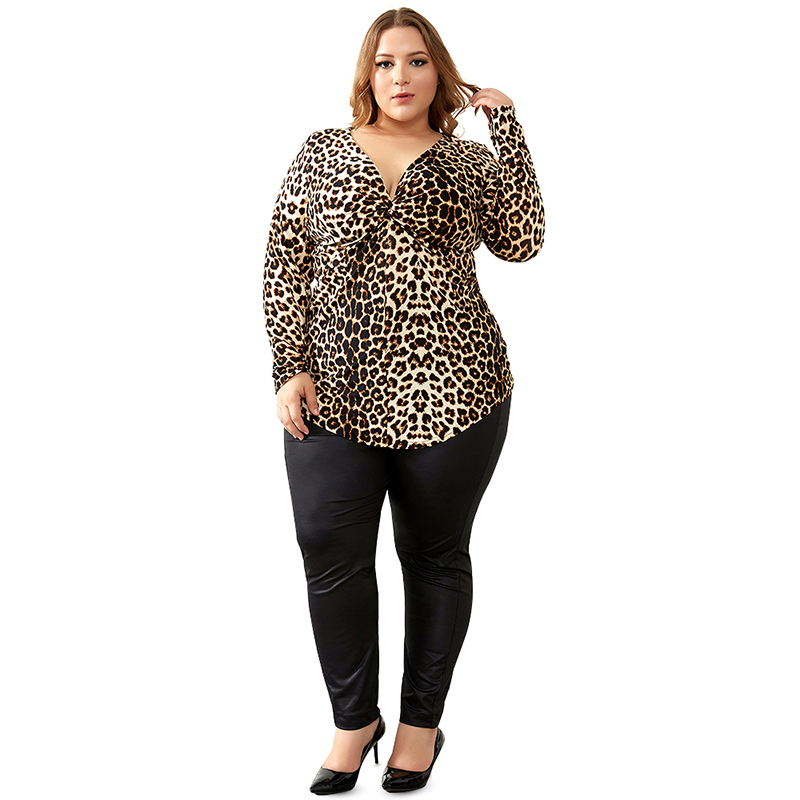 YTL Female Big Size Spring Autumn Grey Leopard Deep V Neck Long Sleeve Slim Tunic Top Large Size Blouses Women 5XL 6XL 7XL H088 4