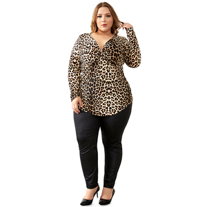 Image 5 - YTL Plus Size Blouses for Women Leopard Sexy Deep V Neck Long Sleeve Slim Tunic Top Large Size Blouses Women 5XL 6XL 7XL H088