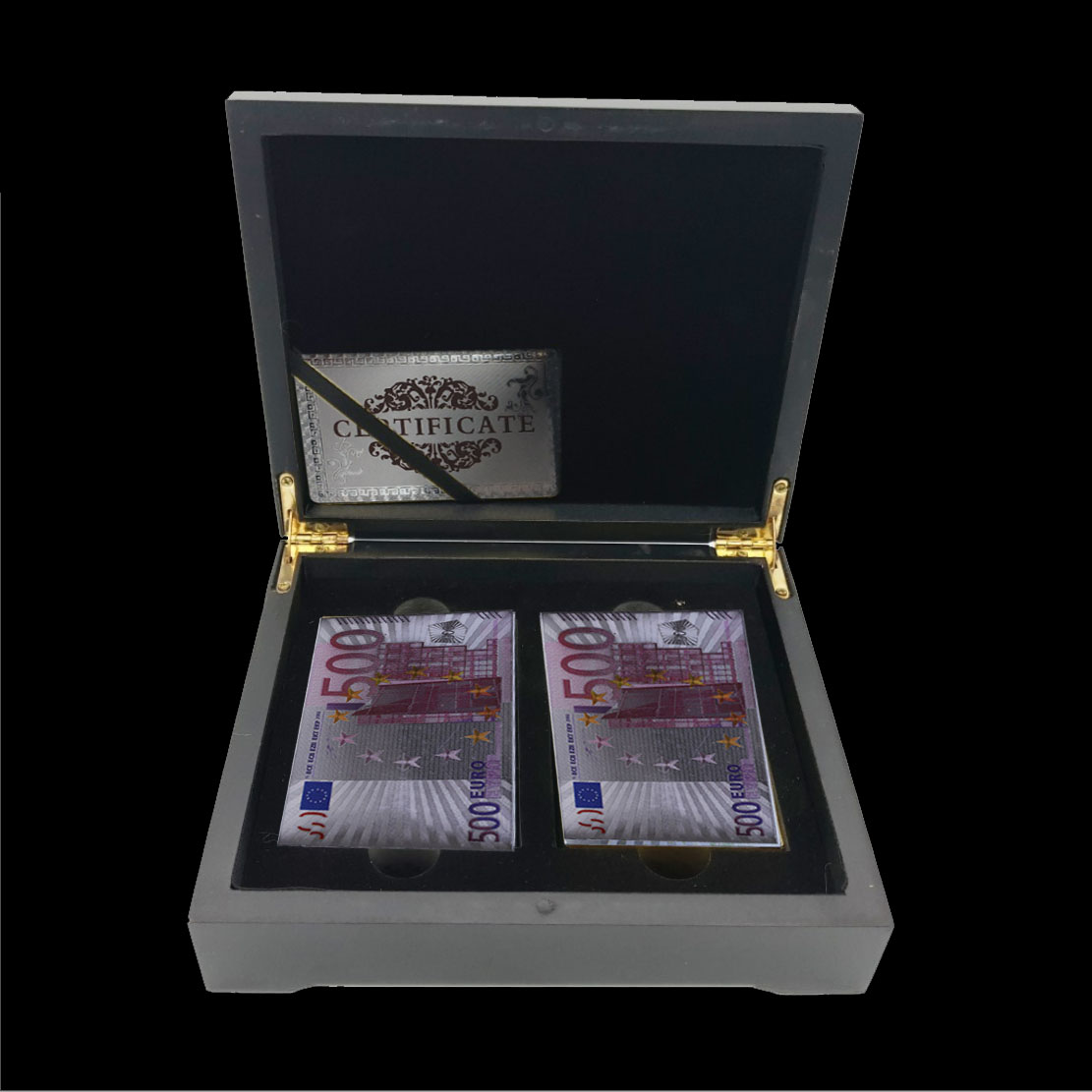 Waterproof Euro Style Playing Cards 24K Gold Foil Silver Poker Table Game Poker and Wooden Storage Box Personalized Gift